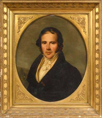Nicolas GOSSE (Paris 1787 - Soncourt-Sur-Marne 1878) Portrait présumé du Baron Claude Germain L