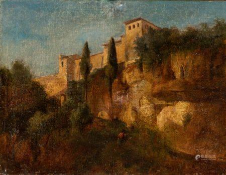 Ecole FRANCAISE du début du XIXème siècle Vue d'une cité italienne Sur sa toile d'origine 26 x