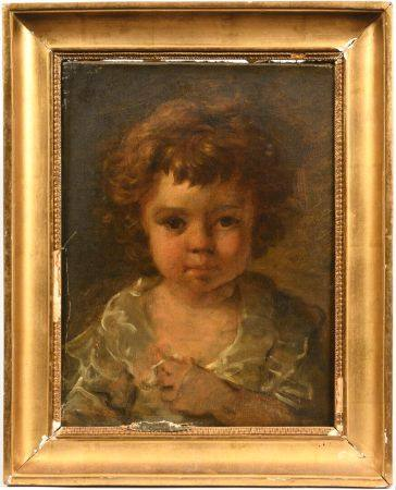 Ecole française vers 1830 Portrait de jeune enfant en buste Toile Porte une ancienne attributio