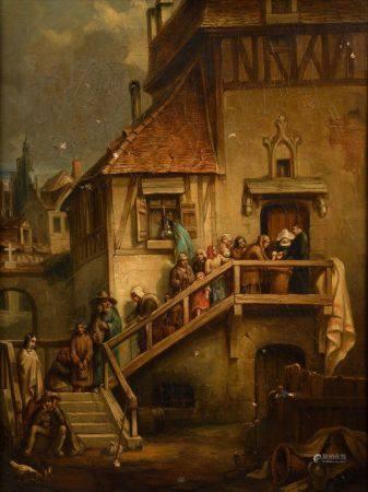 Ecole FRANCAISE du XIXème siècle, suiv de Eugène ISABEY La soupe populaire Sur sa toile d'or