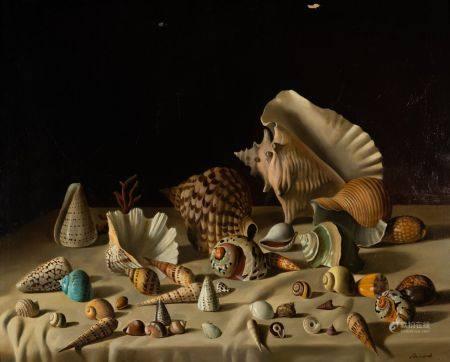 Ecole Moderne dans le goût du XVIIème siècle Nature morte aux coquillages Huile sur toile porte