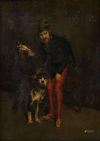 Ecole FRANCAISE vers 1880 Fou et son chien Panneau 32,5 x 24,5 cm