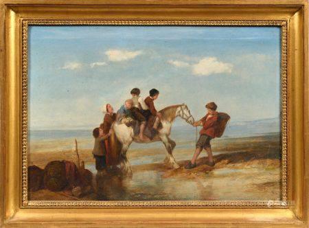 Attribué à Eugène LE POITEVIN (1806 - 1870) Jeunes enfants à dos de cheval sur une plage Pannea