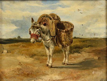 André GIROUX  (Paris 1801 - 1879) L'âne Sur sa toile d'origine 26,5 x 34 cm  Provenance :  Vent