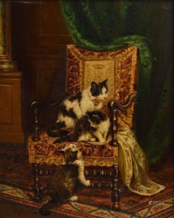 Jules LE ROY  (1853 - 1925) Chats jouant sur un fauteuil Toile 41 x 33 cm Signé en bas à gauche