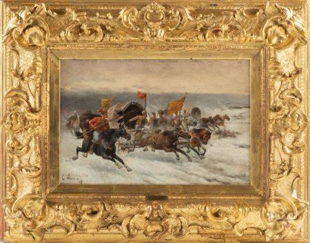 Adolf BAUMGARTNER-STOILOFF (1850-1924) Le transport de l'or en Sibérie Huile sur panneau signée