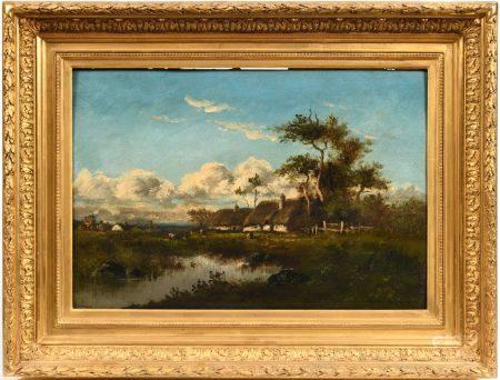 Léon Victor DUPRÉ (1816-1879) Paysage aux chaumières Huile sur panneausignée bas droite 38 x 5