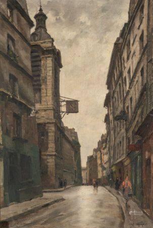 Jean LEFORT (1875 - 1954) Notre-Dame de Bonne Nouvelle, rue de Beauregard, Paris Huile sur toil