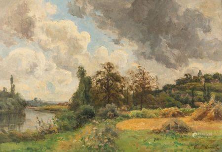 Paul LECOMTE (1842-1920) Village en bord de rivière Huile sur carton.  Signée en bas à droite.