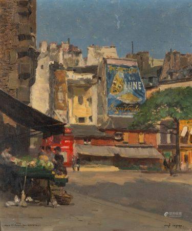 Jean LEFORT (1875 - 1954) La place Saint-André des Arts, Paris Huile sur toile. Signée en bas à