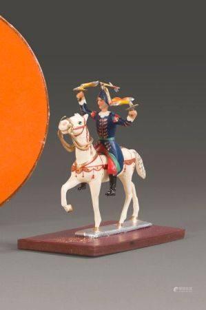 HERMES. Cavalier.  Figurine en métal sur sa terrasse gainée de cuir marron, crée pour la 150e a