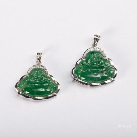 Chinese Jadeite Hotei Pendant, Pair