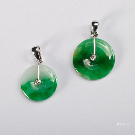 Chinese Jadeite Pendants, Pair