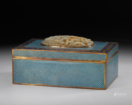 Chinese Jade Plaque On Cloisonne Cover Box
