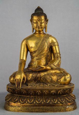 Chinese Gilt Bronze Seated Shakyamuni
