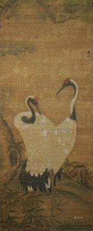 呂紀  雙鶴図