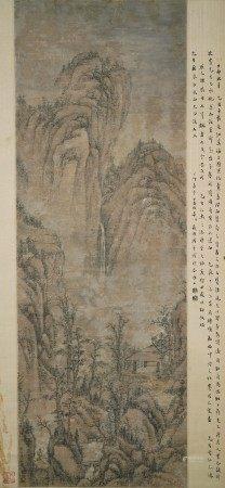 明時代明時代 杜瓊筆  山水図