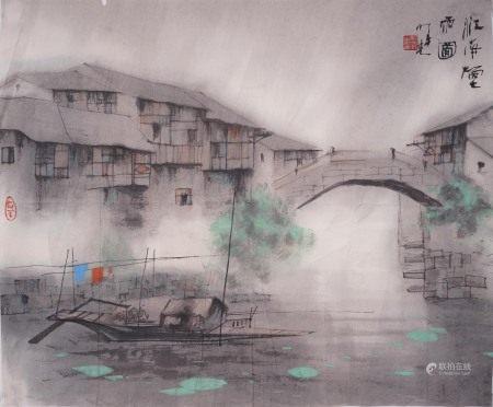 明義  江南煙雨図