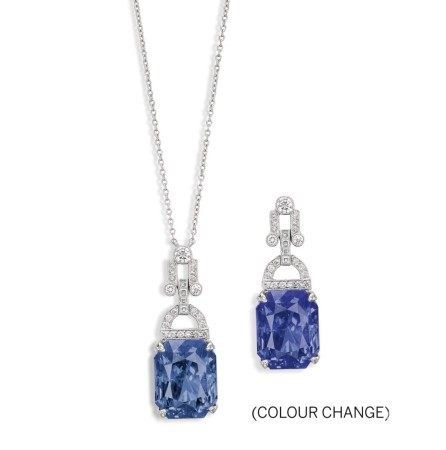 Tiffany & Co. | Colour Change Sapphire and Diamond Pendent Necklace | 蒂芙尼 | 15.07克拉 天然「斯里蘭卡」變色藍寶石 配 鑽石項鏈