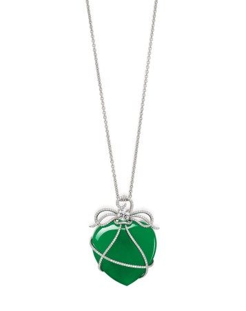 Jadeite and Diamond Pendent Necklace / Brooch | 天然翡翠 配 鑽石 項鏈 / 胸針
