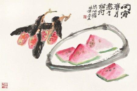 Zhu Qizhan 朱屺瞻    Lychee and Watermelon 夏菓解暑