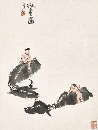 Li Keran 李可染   Two Herdboys 牧童圖