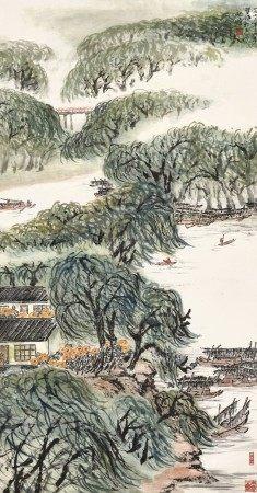 Zhu Qizhan 朱屺瞻   Village in Lush Mountains 鄉郊生活