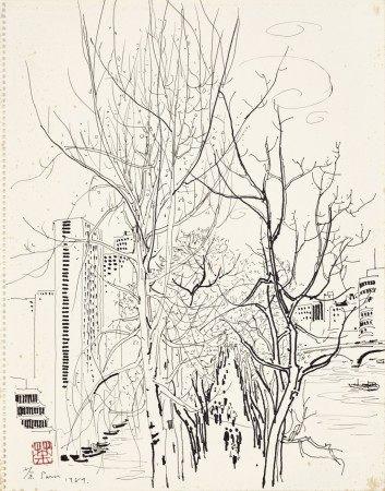Wu Guanzhong 吳冠中   Scenery Along the Seine 巴黎塞納河