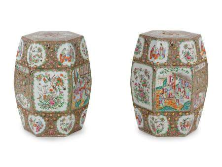 A Pair of Chinese Export Famille Rose Porcelain Garden Stools