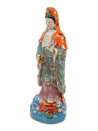 A Chinese Export Enameled Porcelain Figure of Guanyin