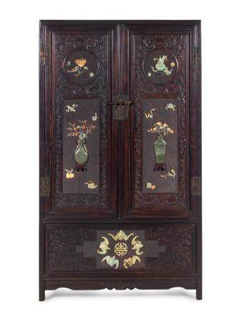 A Chinese Export Hardstone Inlaid Cabinet