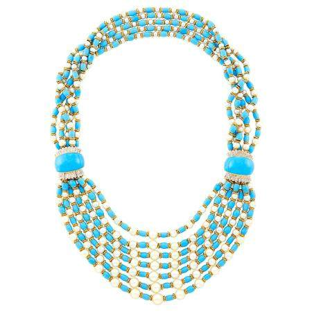 Multistrand Two-Color Gold, Cultured Pearl, Turquoise Enamel Bead and Diamond Necklace