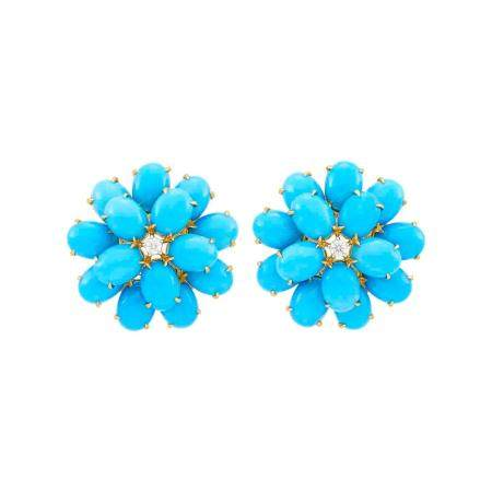 Pair of Gold, Turquoise and Diamond Flower Earclips