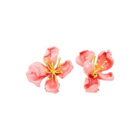 JAR Paris Pair of Aluminum and Pink Enamel Flower Earclips