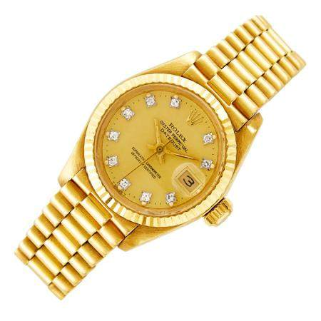 Lady's Rolex Gold 'Oyster Perpetual Datejust' Wristwatch