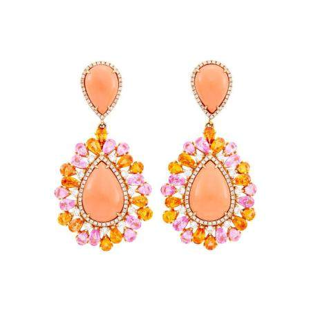 Pair of Rose Gold, Coral, Pink and Orange Sapphire and Diamond Pendant-Earrings