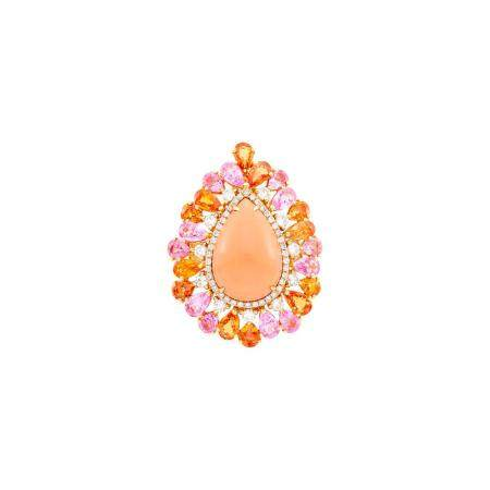 Rose Gold, Coral, Pink and Orange Sapphire and Diamond Ring