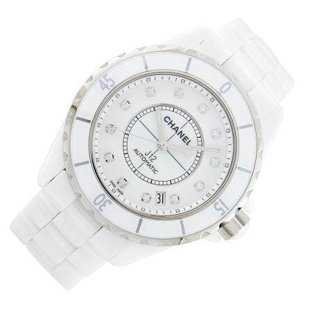 Chanel White Ceramic, Steel and Diamond 'J12' Wristwatch