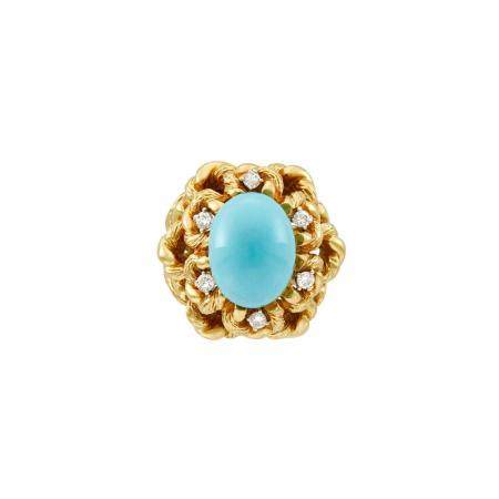 Gold, Turquoise and Diamond Dome Ring