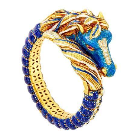 Frascarolo Gold, Enamel and Diamond Horse Bangle Bracelet
