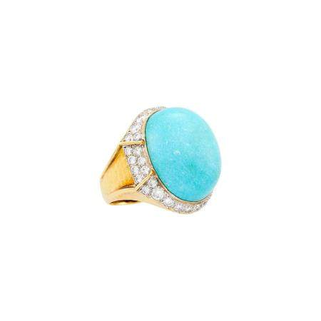 Hammered Two-Color Gold, Turquoise and Diamond Ring
