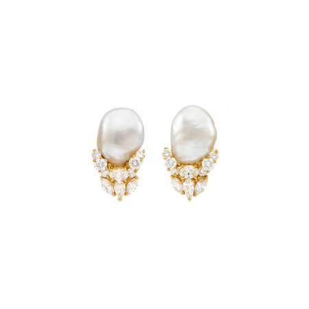 Henry Dunay Pair of Gold, Baroque Cultured Pearl and Diamond Earrings