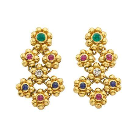 Pair of Gold, Cabochon Colored Stone and Diamond Pendant-Earclips