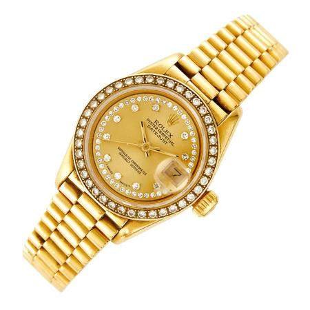 Lady's Gold 'Oyster Perpetual Datejust' Wristwatch