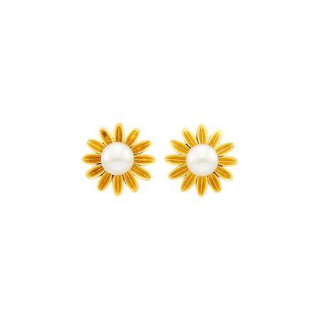 Van Cleef and Arpels Pair of Gold and Natural Pearl Earclips