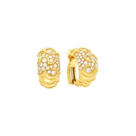 Marina B Pair of Gold and Diamond 'Onda' Hoop Earclips
