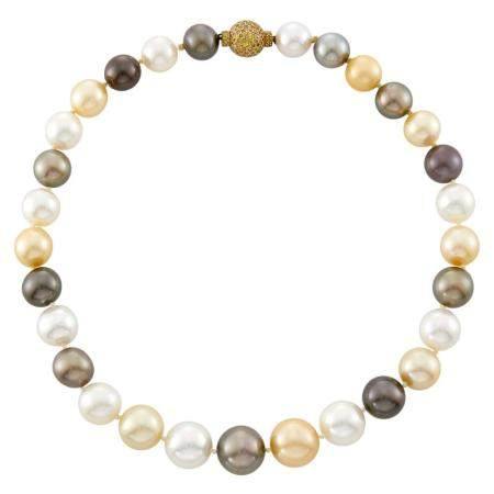 South Sea, Golden and Tahitian Gray Cultured Pearl Necklace with Gold and Colored Diamond Ball Clasp