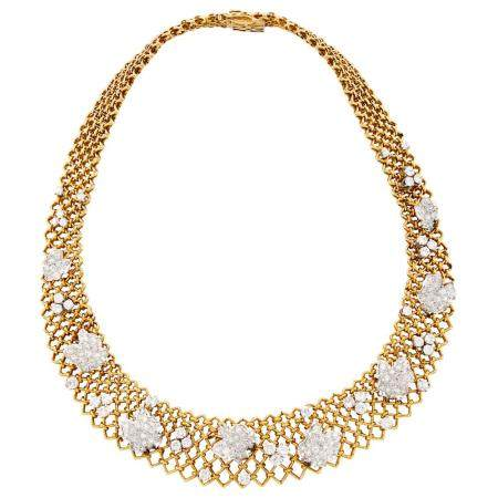 Two-Color Gold and Diamond Mesh Necklace