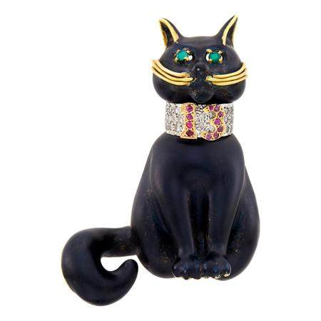 Moba Gold, Enamel, Diamond and Ruby Cat Brooch