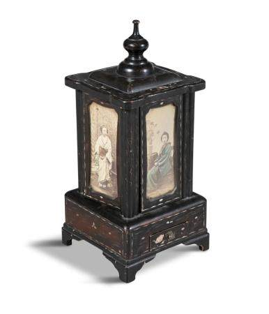 A JAPANESE EBONISED AND MOTHER OF PEARL INLAID NOVELTY CIGAR CASE, in the form of a lantern, each si